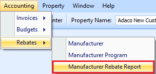 Manufacturer Rebate Report drop down