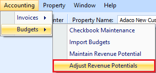 Adjust Revenue Potential drop down