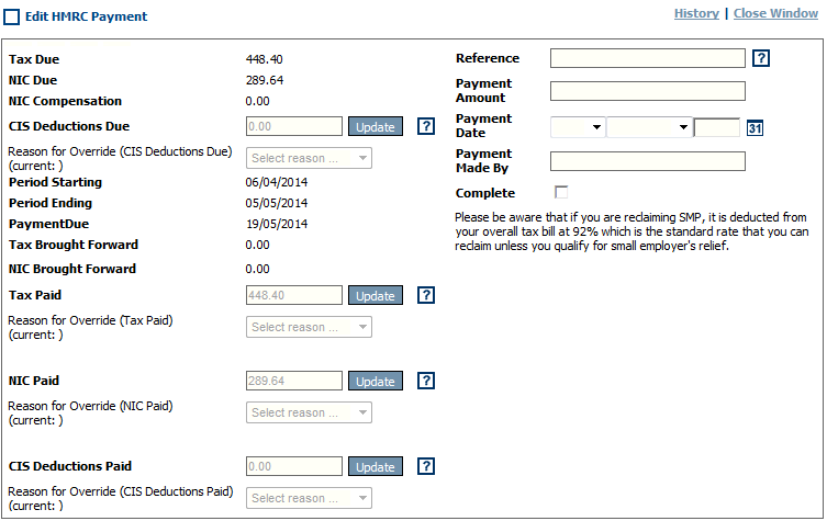Fig 4 - Edit HRMC Payment Screen