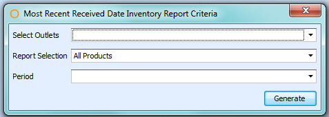 Most Recent Received Date Inventory Report Criteria