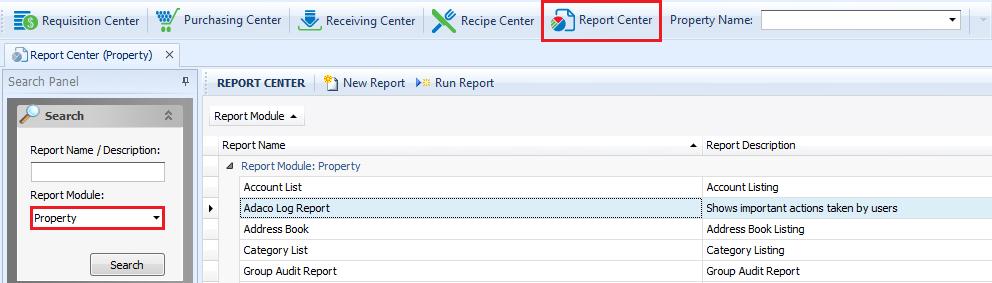 Fig 1 - Report Center