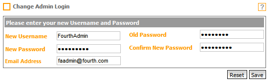 Fig. 3 - Completed Change Admin Login Form