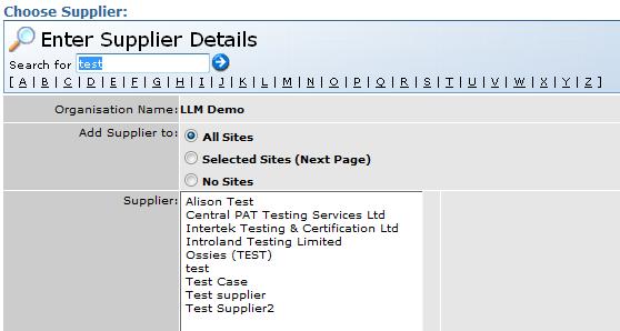 Supplier list meeting the search criteria