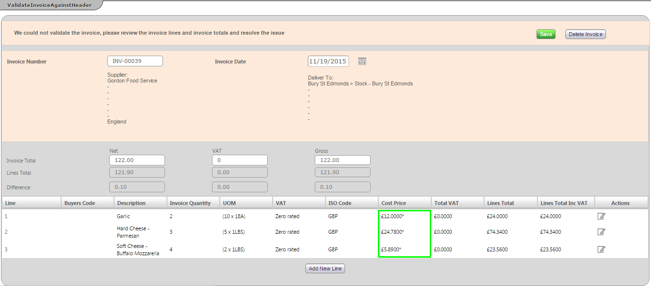 Fig 2 – Updated Invoice Validation Screen