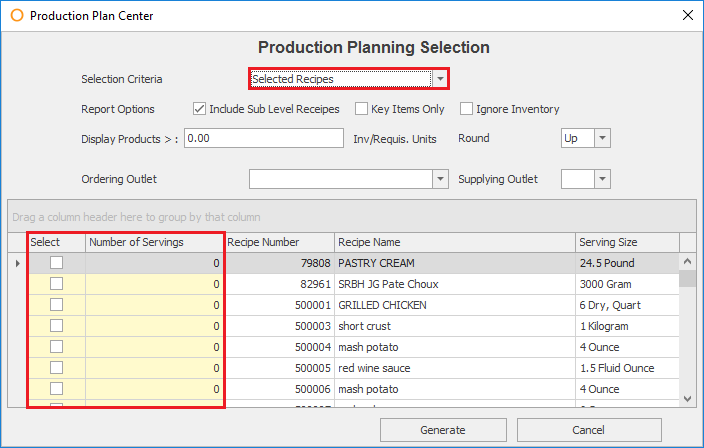 Production Planner - Recipes