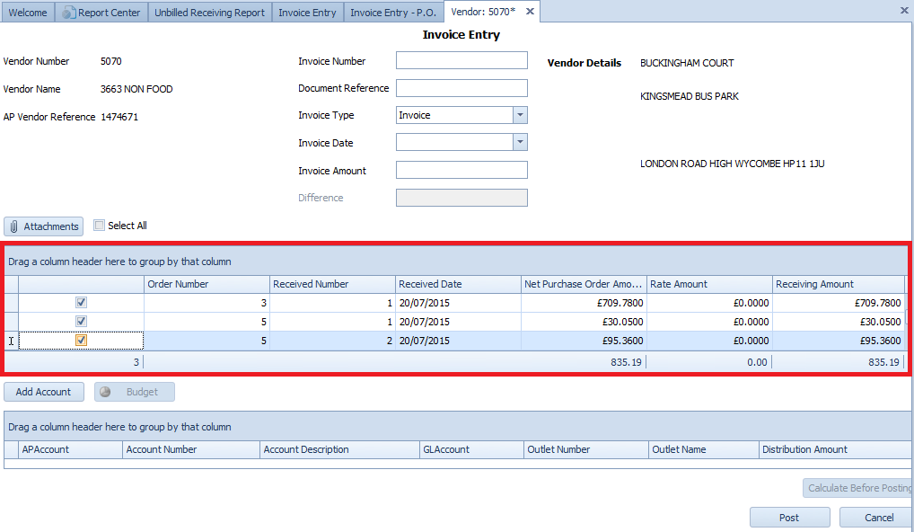 Fig. 02 - Invoice Entry (Selecting Multiple Invoices)