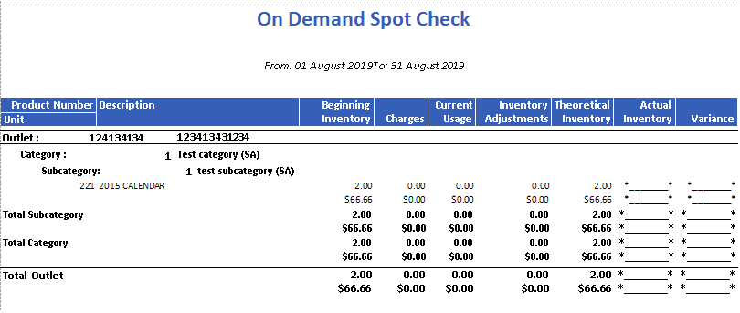 On Demand Spot Check Report