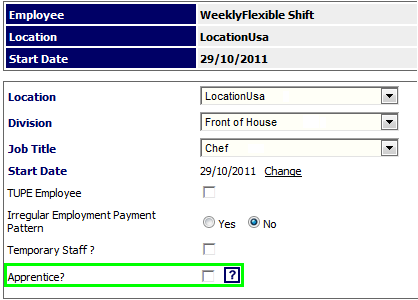 Fig 3 – Apprentice Setting Disabled on Employment Details Page