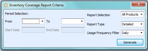 Inventory Coverage Report Criteria
