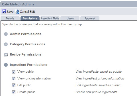 Fig 5 - User Group Permissions