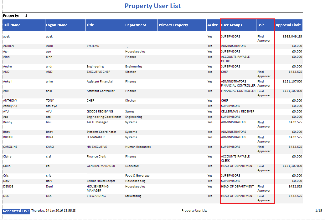 Property User List Report Include Options