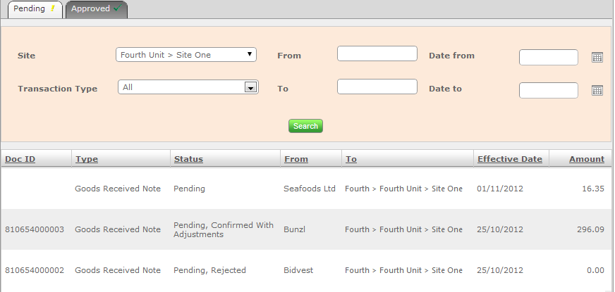 Fig 15 - Pending Documents with EDI Status