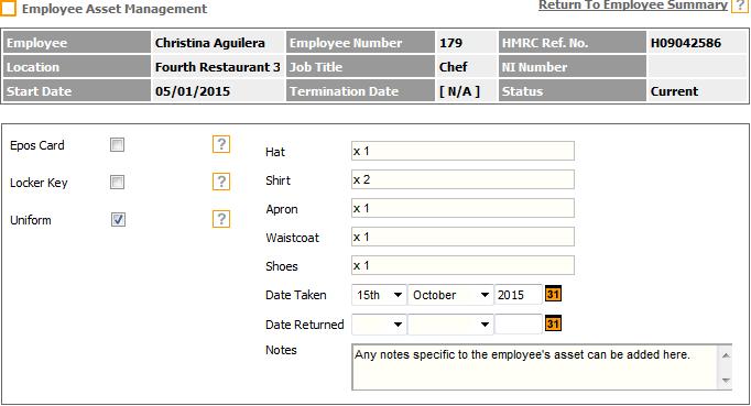 Fig 4 – Employee Asset Management Screen