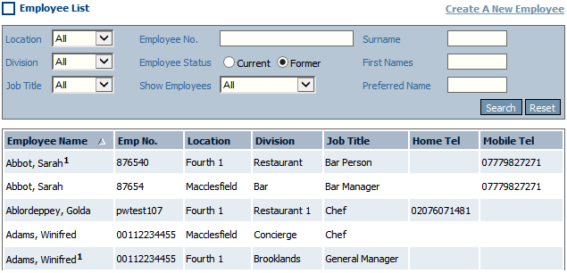 Fig 6 - Former Employee Search