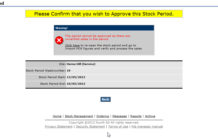 Fig 1 - shows the new alert for unverified sales when approving a period.