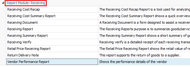 Accessing Vendor Performance Report