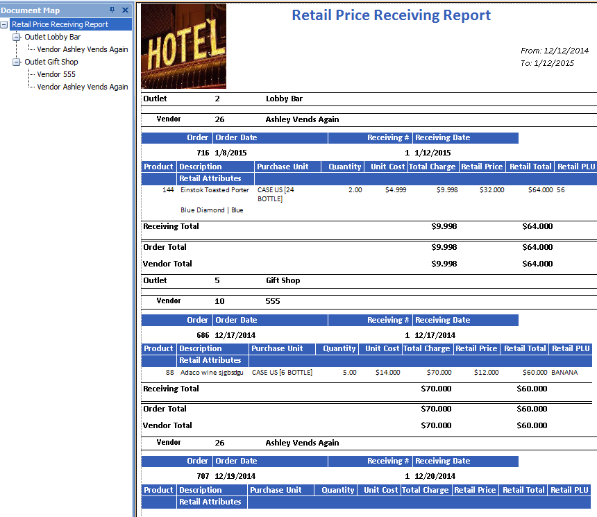 Retail Price Receiving Report