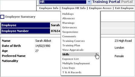 Find Employee and Skills Menu