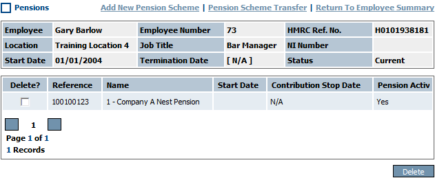 Fig 1 – Pensions Page