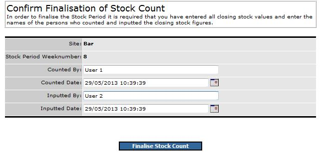Fig.11 this shows the fields for entering who counted and entered the stock