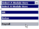Fig 1- Diagram showing the module dropdown menu.