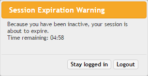 Fig 1 – Session Expiration Warning Message