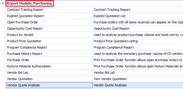 Vendor Quote Analysis report