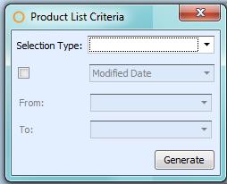 Product List Report Criteria