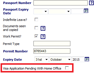 Fig 3 – New Setting on a Work Permit