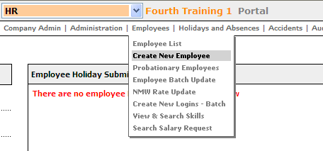 Fig.1 Screen shot of create new employee