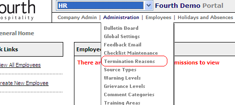 Termination Reasons within administration.