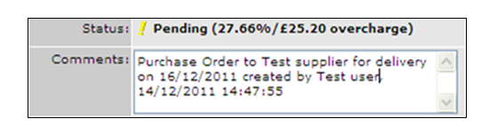 Fig.5 shows an over charge of £25.20. This delivery now has to be reconciled against the invoice