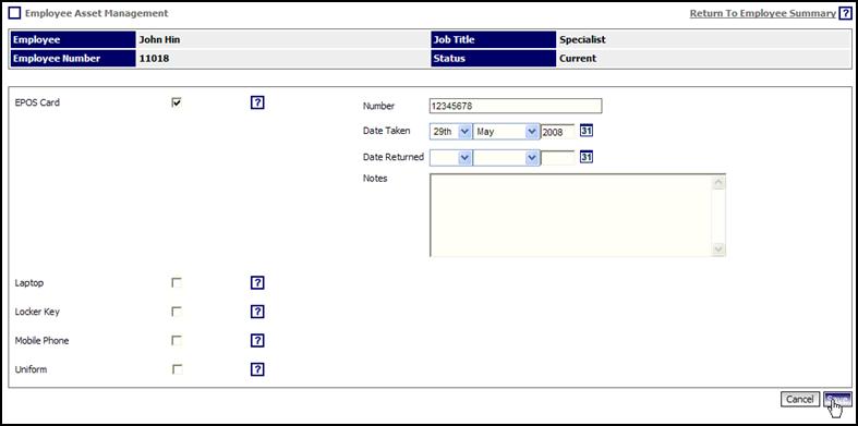 Assets details screen