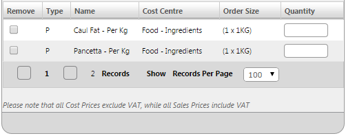 Fig 1 - Old Version of Product & Recipes Tab