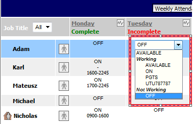 Fig 4 - Rota Page with Global Setting Enabled