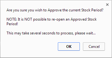 Fig 3 - Stock Period Approval Confirmation Dialogue Box