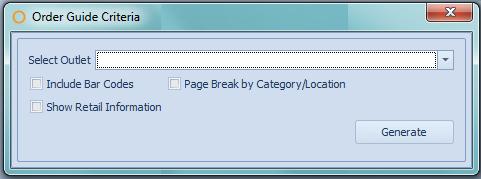 Order Guide Report criteria