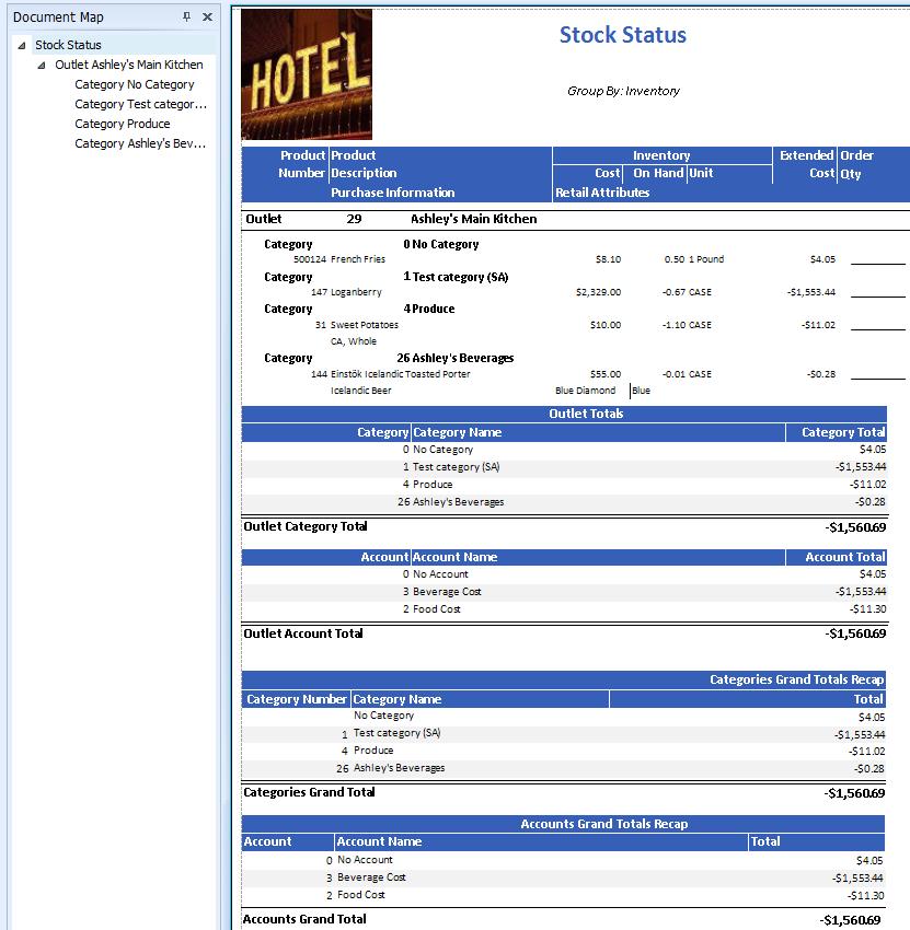 Stock Status Report