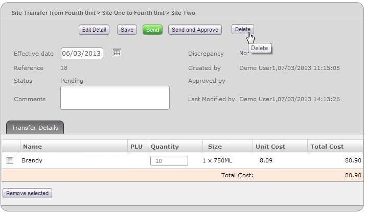 Fig 01 - Pending Site Transfer & Delete Button