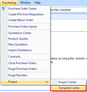 Project Template drop down