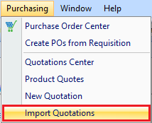 Import Quote drop down