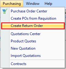 Create Return Order in drop down