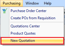 New Quote drop down
