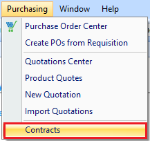 Contracts access in drop down menu