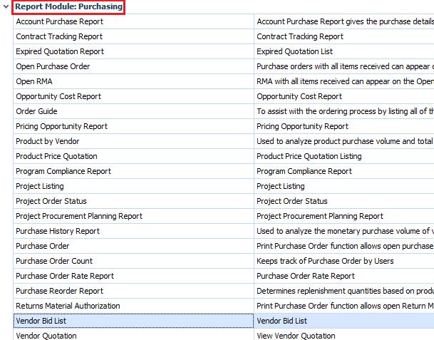Vendor Bid List report