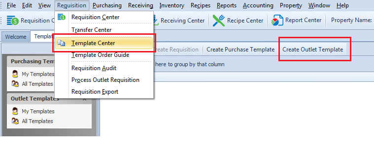 Fig. 4 - Selecting Template Center and Create Outlet Template