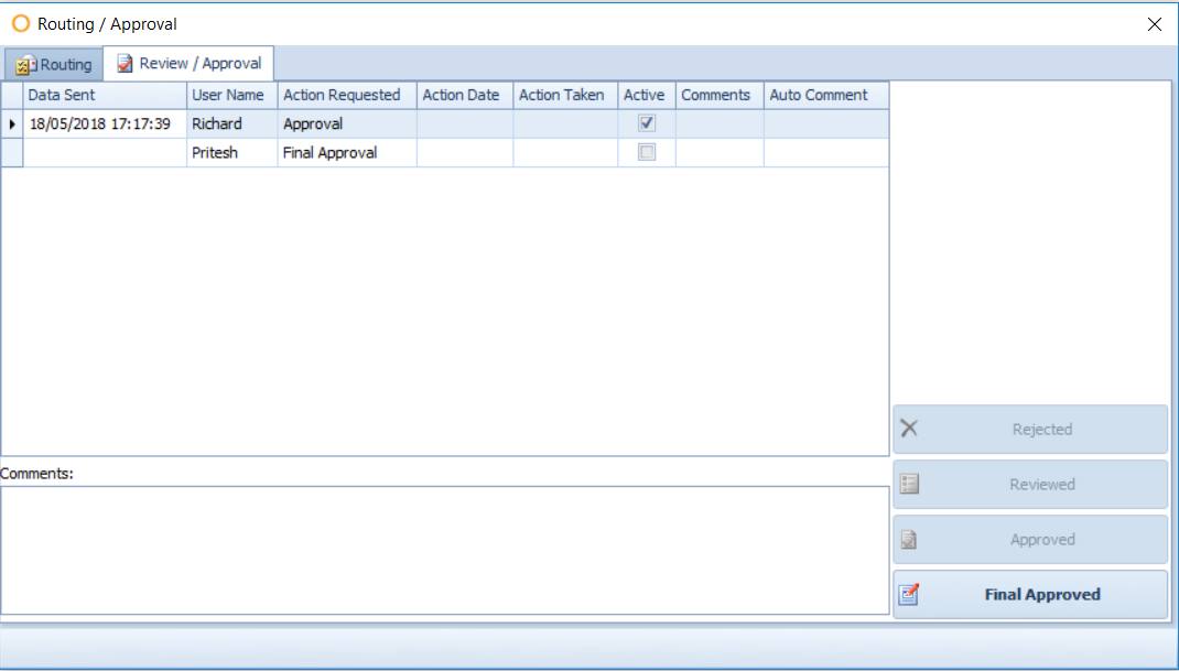 Fig. 06 - Recipe Approval Screen