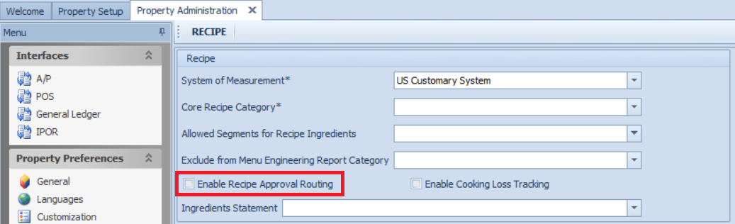 Fig. 01 - Enabling Recipe Approval Routing