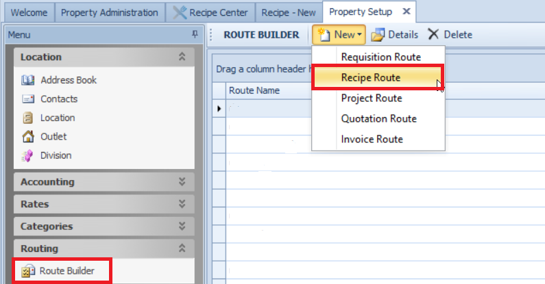Fig. 02 - Recipe Approval Routing Creation