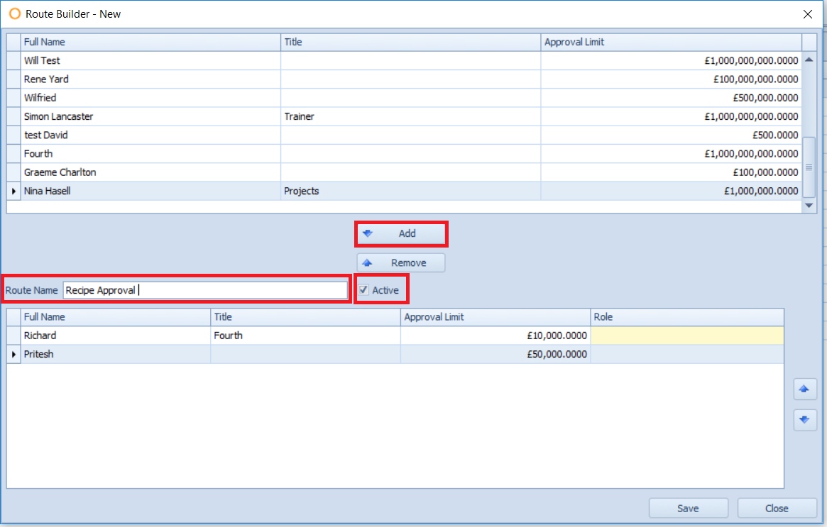 Fig. 03 - Recipe Approval Route Builder